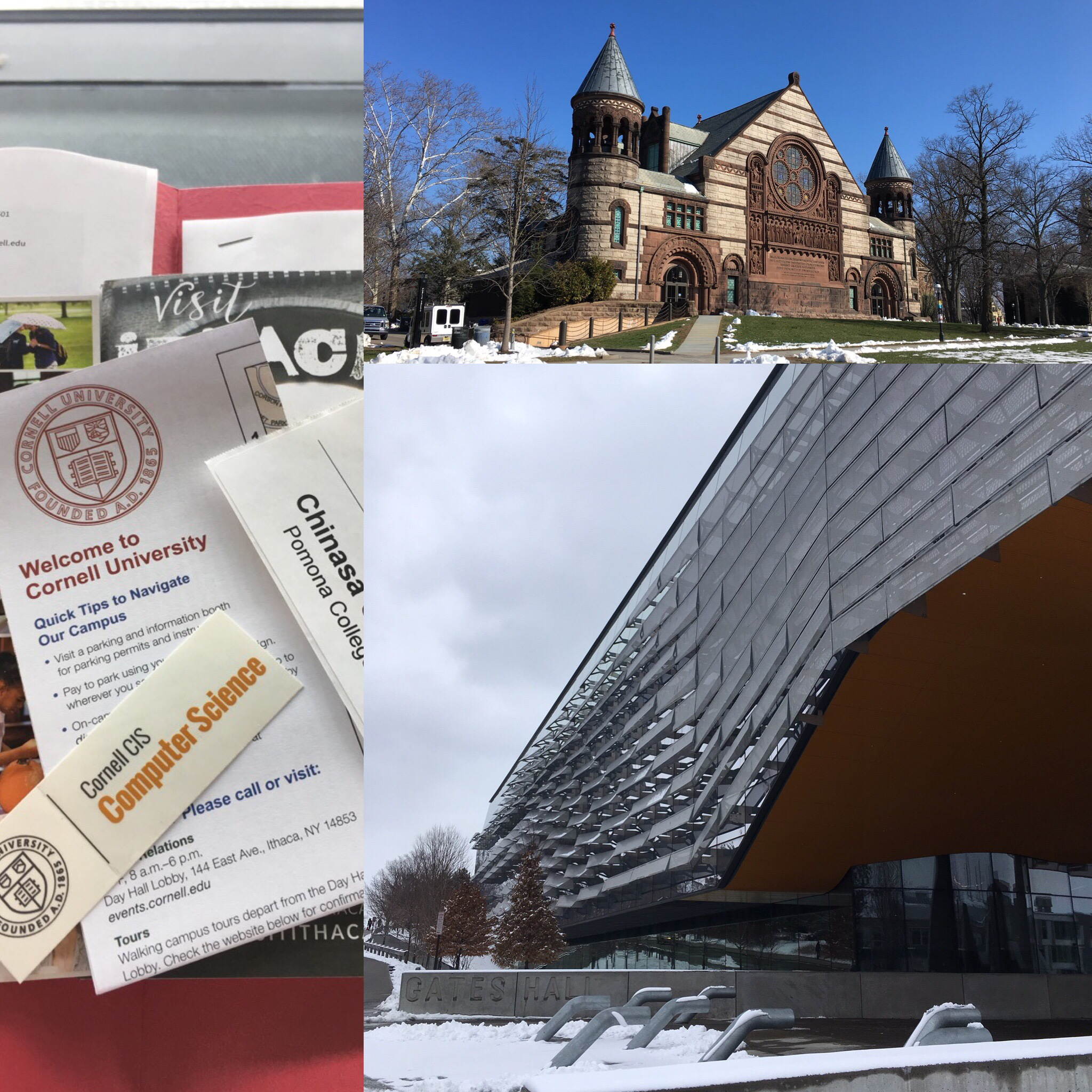 Collage of buildings at Cornell and Princeton